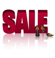 Word SALE and Golden Sandals with High Heels vector image vector image