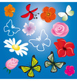a collection of flowers and butterflies vector image