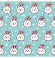 Rabbits in Santas hats seamless pattern vector image