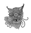 cat in mandala pattern style zentagle black and vector image