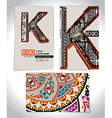 Ancient Business card design LETTER K vector image