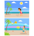 beach vacation children on holidays playing set vector image vector image