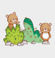 bears in the forest doodles cartoons vector image vector image