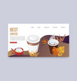 best coffee web banner landing page of vector image vector image