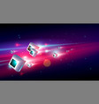 big data center with 3d glow box high speed vector image vector image