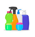 bottles household chemicals supplies and vector image vector image
