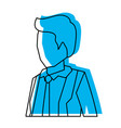 businessman faceless in suit and half body blue vector image