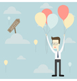 businessman fly with balloon to success vector image
