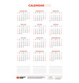 calendar template for 2019 year week starts on vector image