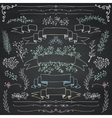 Chalk Drawing Floral Design Elements vector image vector image