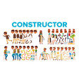 character male constructor body detail set vector image vector image