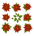 christmas and new year elements with set of red vector image