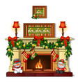 christmas sketch with fireplace with christmas vector image