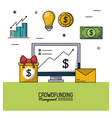 colorful poster of crowd funding management with vector image vector image