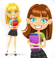 Cute student girl with books vector image vector image