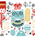 doodle style ornamental hand drawn owl vector image vector image
