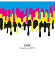 dripping ink cmyk stain liquid ink paint drip vector image