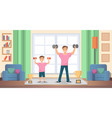 father with son doing exercises at home vector image