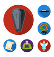 Funeral ceremony flat icons in set collection for