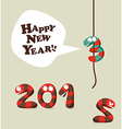 Funny snake Happy new year 2013 greeting card vector image vector image
