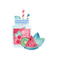 glass jars with refreshing drink ice cubes and vector image
