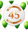 Golden number forty five years anniversary vector image vector image