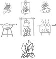 grill shashlik fire icons vector image vector image