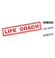 grunge life coach scratched rectangle watermarks vector image vector image