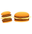hamburgers with beef and cheese vector image vector image