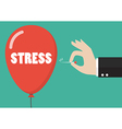 Hand pushing needle to pop the stress balloon vector image vector image