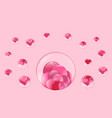hearts lie inside a transparent glass sphere vector image vector image
