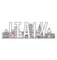 italy travel lettering in linear style vector image
