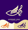 jesus fish musical note treble clef and wing vector image vector image