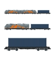 Locomotive with Container on Railroad Platform vector image vector image
