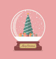 merry christmas glass ball with christmas tree vector image