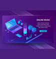 online music isometric concept background vector image vector image