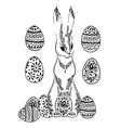 Ornamental easter rabbit with decorative eggs vector image vector image