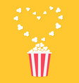 popcorn popping heart shape frame red yellow vector image vector image