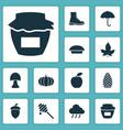seasonal icons set with pumpkin oak nut apple vector image vector image