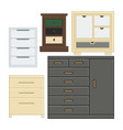 set drawer and cabinet for interior household vector image vector image
