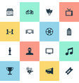 set of simple movie icons vector image vector image