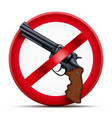 sign with gun and symbol stop arming vector image vector image