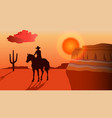 silhouette a cowboy riding a horse at sunset vector image vector image