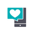 smartphone with heart colored icon customer vector image vector image