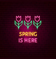 spring is here neon label vector image