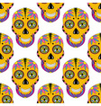 sugar skull pattern with floral ornament mexican vector image