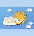 sun hugging cloud paper art vector image