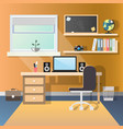 teenage guy room with workplace vector image vector image