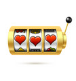 three lucky heart symbols on gold slot machine vector image vector image