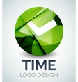 Time clock logo design made of color pieces vector image vector image